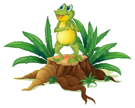 Illustration of a frog standing above a trunk on a white background Vector