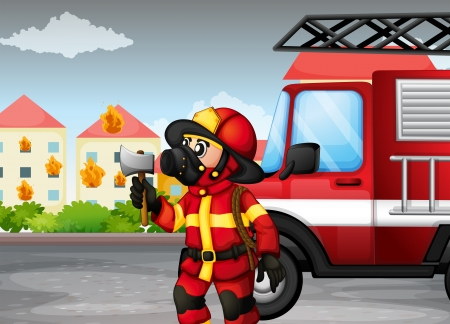 Illustration of a fireman holding an axe with a truck at the back Illustration