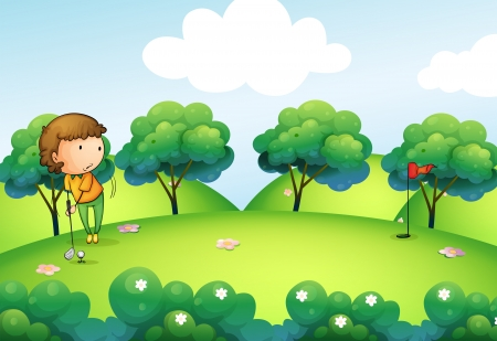 pink hills: Illustration of a girl playing golf at the top of the hill Illustration