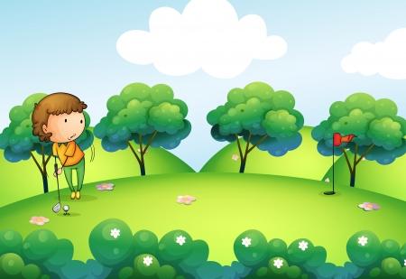 golf stick: Ilustraci�n de una ni�a jugando al golf en la parte superior de la colina