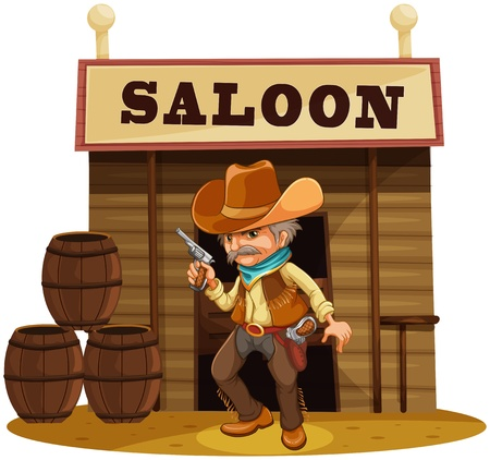 Illustration of a man holding a gun in front of a saloon bar on a white background Stock Vector - 18983401