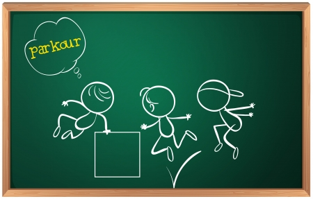 military training: Illustration of a blackboard with kids doing parkour on a white background