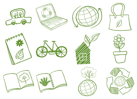 invent things: Illustration of the eco-friendly logo designs on a white background