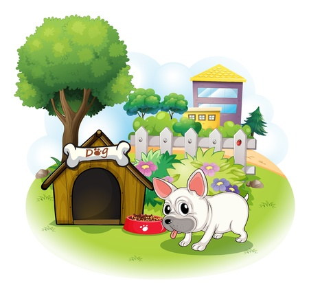 glass fence: Illustration of a dog and his doghouse inside the fence on a white background Illustration