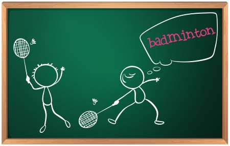 badminton racket: Illustration of a blackboard with a drawing of two boys playing badminton on a white background Illustration