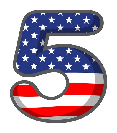Illustration of a number five with USA symbols on a white background Stock Vector - 18983290