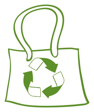 recycle bag: Illustration of a green recycled bag on a white background   Illustration