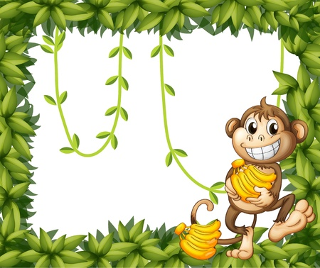 animal border: Illustration of a happy monkey holding bananas on a white background