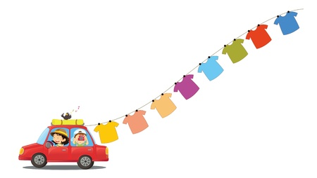 auto washing: Illustration of a red car with hanging clothes on a white background Illustration