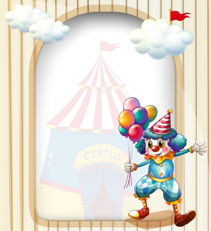 Illustration of a clown with balloons at the entrance of the carnival Vector