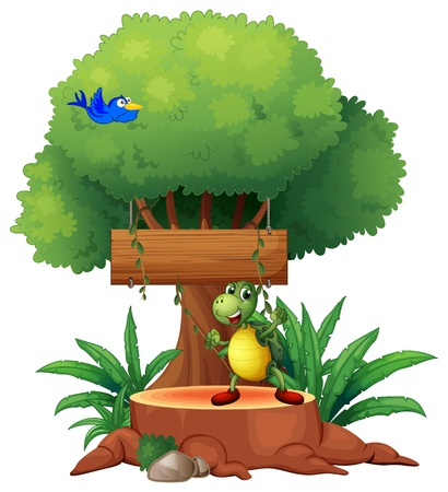 huge tree: Illustration of a turtle with a blue bird and a wooden signboard at the back on a white background Illustration
