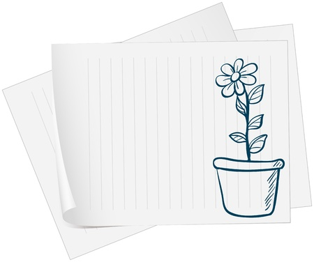 Illustration of a paper with a sketch of a plant in a pot Stock Vector - 19019492