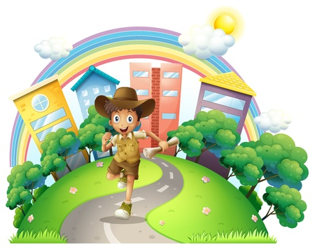 Illustraton of a boy running along the street on a white background Vector