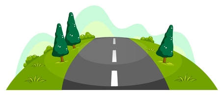 far: Illustration of the narrow road at the hill on a white background