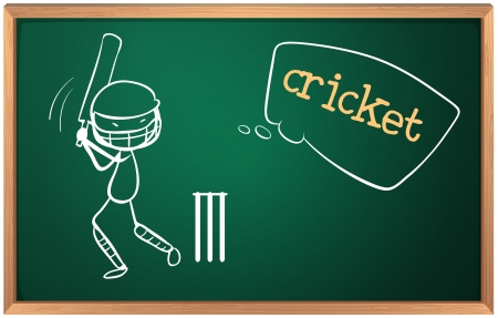 cricket game: Illustration of a board with a cricket player on a white background