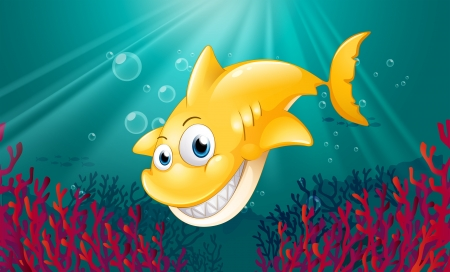 Illustration of a yellow shark smiling under the sea Stock Vector - 19019493