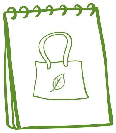 Illustration of a notebook with a sketch of a handbag at the cover page on a white background Vector