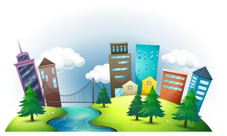 épület: Illusztráció egy dombon, a folyó egész magas épületek, fehér, háttér Illusztráció