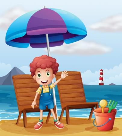 Ilustración de un muchacho joven que se coloca en la playa