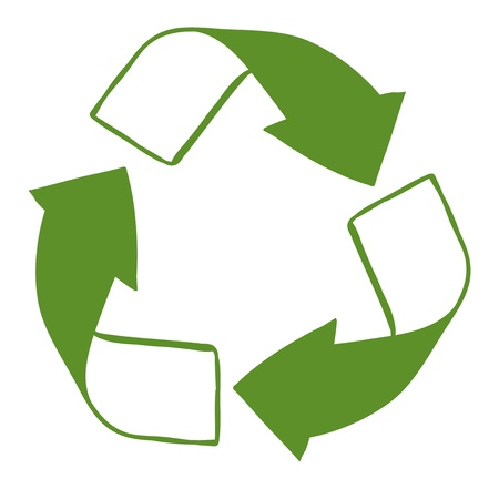 pointy: Illustration of a green recycle sign on a white background