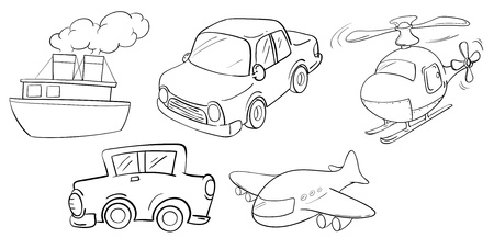 jetplane: Illustration of the different kinds of transportations on a white background