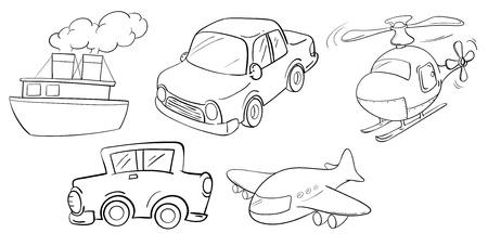 Ilustraci�n de los diferentes tipos de medios de transporte sobre un fondo blanco Foto de archivo - 19301304