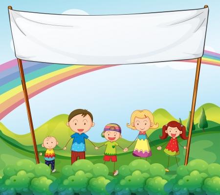 niños con pancarta: Ilustración de una familia en el jardín con una bandera vacía