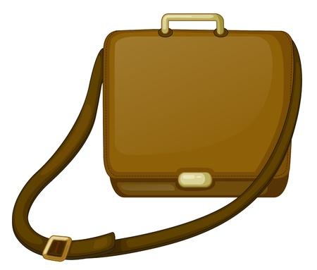 leather bag: Illustration of a brown bag on a white background Illustration