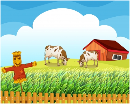 rootcrops: Illustration of a scarecrow with two cows inside the fence