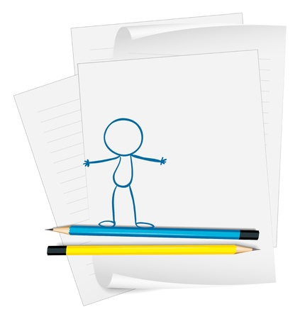 Illustration of a paper with a drawing of a person standing on a white background Stock Vector - 19301264
