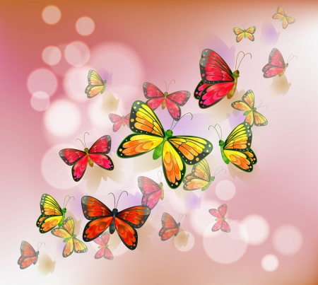 Illustration of a stationery with a group of butterflies Stock Vector - 19301735