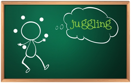 blackboard cartoon: Illustration of a blackboard with a drawing of a boy juggling on a white background Illustration