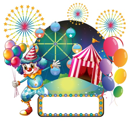 amusement park background: Illustration of a clown with balloons near the empty signage on a white background