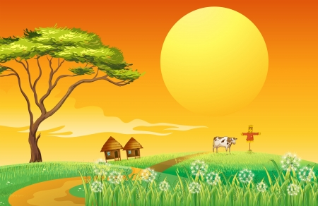 scarecrow: Illustration of a farm with a cow and a scarecrow