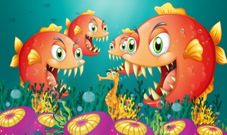 Illustration of a seahorse surrounded by a group of hungry piranhas Vector