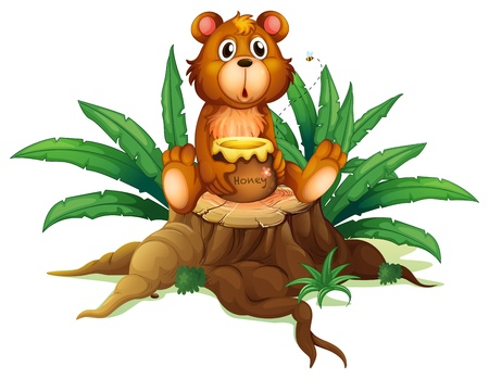 Illustration of a bear with honey above a trunk on a white background Vector