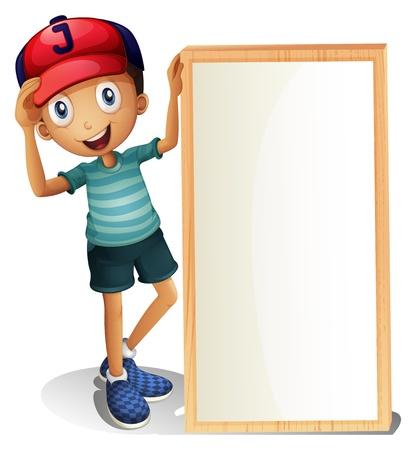 흰색 배경에 빈 간판 옆에 서있는 어린 소년의 그림 일러스트