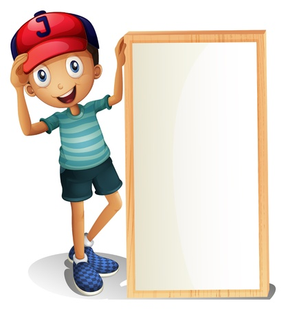 Illustration of a young boy standing beside an empty signboard on a white background Vector