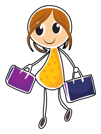 formalwear: Illustration of a girl with two bags on a white background