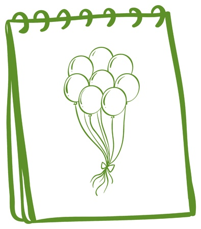 occassion: Illustration of a green notebook with balloons at the cover page on a white background