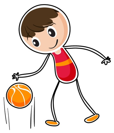 bouncing: Illustration of a boy dribbling a ball on a white background
