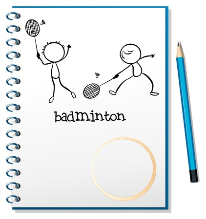 Illustration of a notebook with an image of two people playing badminton on a white background Vector