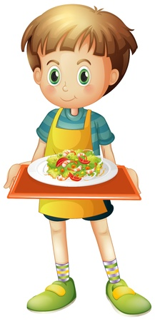 Illustration of a young boy holding a tray with a plate on a white background Illustration