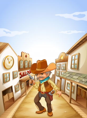 Illustration of an old man holding a gun near the saloon  Stock Vector - 19301843