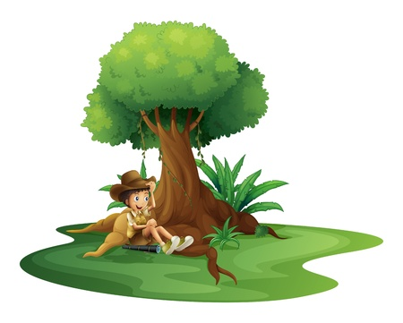 Illustration of a boy resting under the tree on a white background Vector