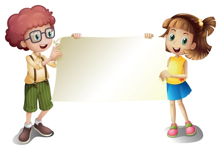 child holding sign: Illustration of a young girl and a young boy holding an empty signboard on a white background