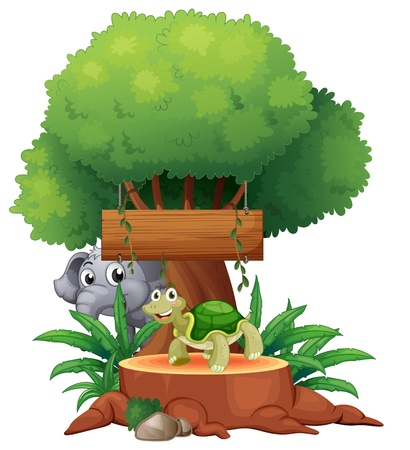Illustration of a turtle and an elephant under the big tree with a wooden signboard on a white background Stock Vector - 19301682
