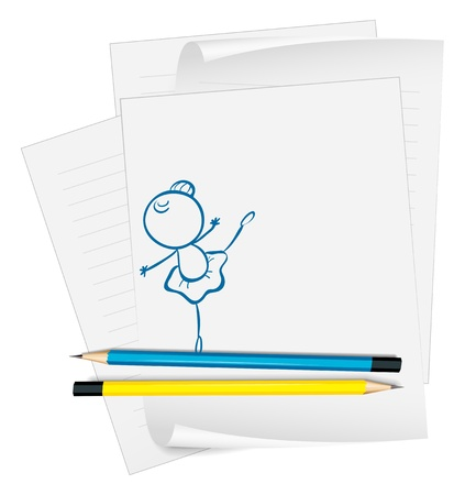 Illustration of a paper with a drawing of a girl dancing ballet on a white background Stock Vector - 19301269