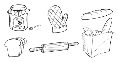 Illustration of a jam, bread and baking materials on a white background
