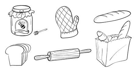 bolsa de pan: Ilustración de una mermelada, pan y repostería materiales sobre un fondo blanco